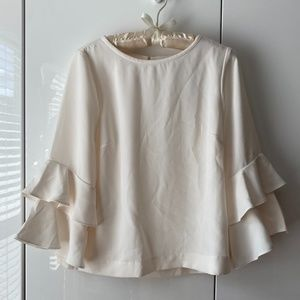 NWOT J Crew Tiered Bell-sleeve Blouse Ivory  8p